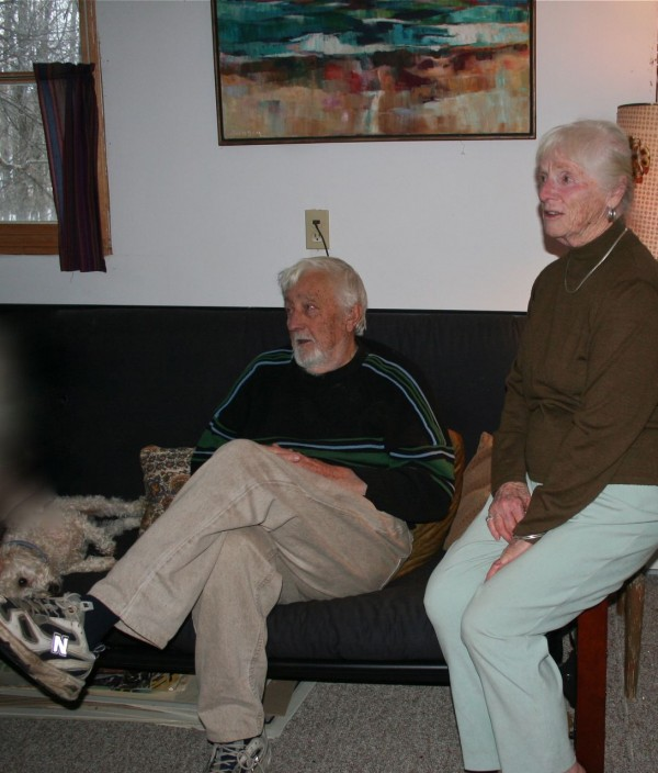 Bill and Anne Holmbom chat with visitors at their home in Monson