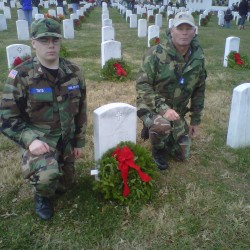 Cadet Airman First Class Nicholas Tinto with his leader Lieutenant Colonel Scott Higgins at Arlington Cemetery. Higgins photo