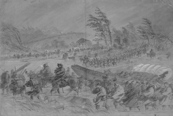 Artist Andrew Waud accompanied the Army of the Potomac as it shifted position upriver from Fredericksburg, Va. in mid-January 1863. Heavy rains and wind lashed the soldiers, turned the roads into deep mud, and led soldiers to call the logistical disaster the &quotMud March.&quot The 17th Maine Infantry participated in the march; Waud sketched this scene on Jan. 21, and that same day four soldiers deserted the regiment and fled north to Maine to escape army life. Among them was Pvt. Orsamus Symonds of Casco.