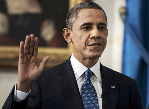 President Barack Obama is sworn in for a second term as President of the United States in the Blue Room of the White House in Washington, D.C., Jan. 20, 2013.