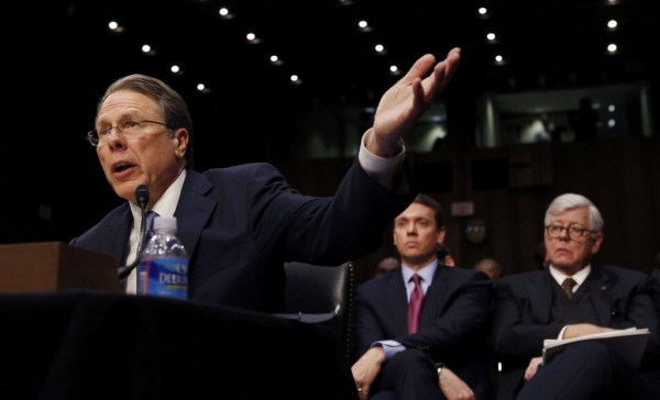 Wayne LaPierre, of the National Rifle Association, testifies during a hearing held by the Senate Judiciary committee about guns and violence on Capitol Hill in Washington, January 30, 2013.