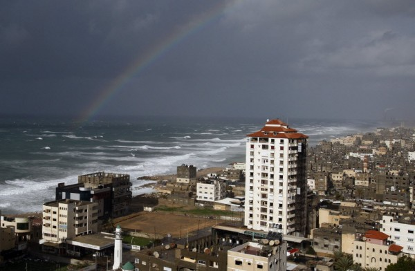 A rainbow is seen on a windy winter day in Gaza City on Jan. 7, 2013.