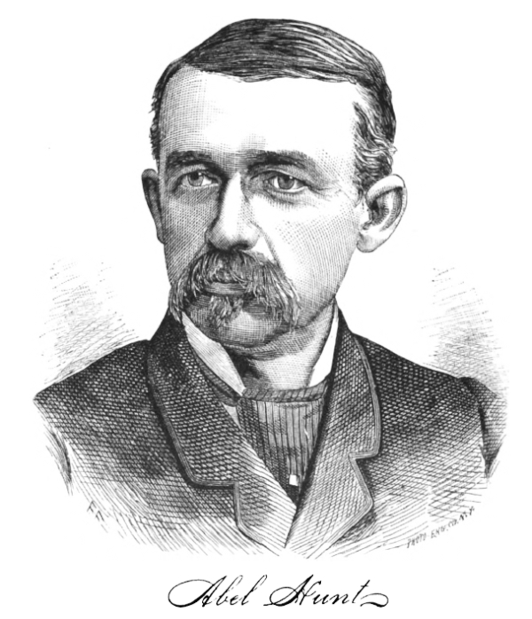 "A portrait of Abel Hunt with his signature, from the 1882 book ""The History of Penobscot County."""
