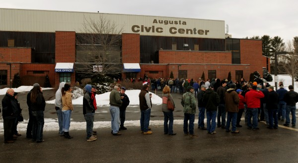 Hundreds of people stood in line on Saturday waiting to pay $8 to get into a gun show at the Augusta Civic Center in Augusta on Saturday.