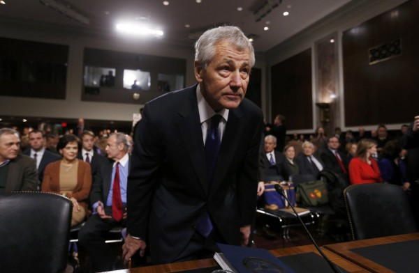 Former Sen. Chuck Hagel (R-NE), sits down before giving testimony to the Senate Armed Services Committee to be Defense Secretary, on Capitol Hill in Washington, January 31, 2013. Hagel, 66, is a decorated Vietnam War veteran and a former two-term Republican senator.
