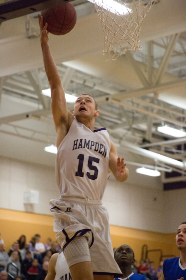 Hampden's Cameron Scott shoots a lay up against Lewiston on Friday.
