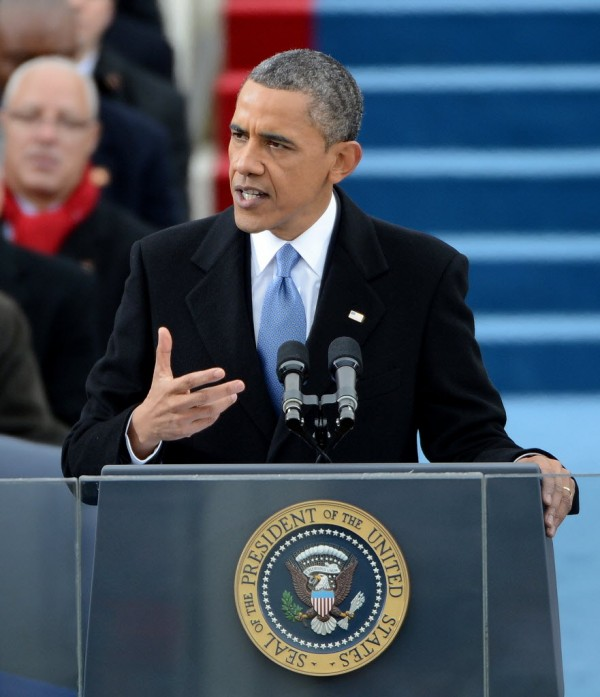 President Barack Obama delivers his inaugural address after being sworn-in for a second term as the President of the United States by Supreme Court Chief Justice John Roberts during his public inauguration ceremony at the U.S. Capitol in Washington, D.C., Monday, January 21, 2013.