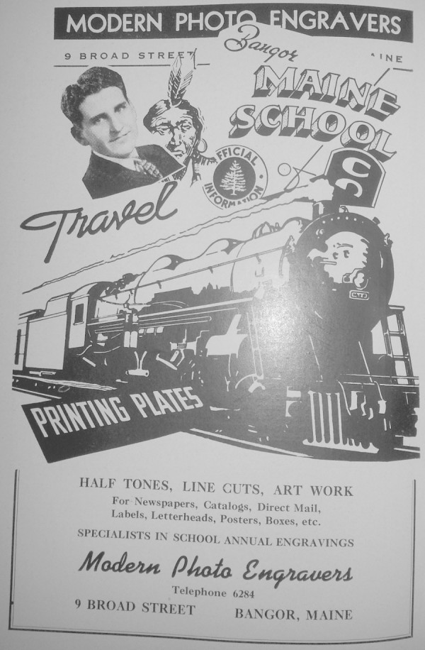 A 1942 ad for Modern Photo Engravers in the Bangor City Directory shows some pretty artsy work for the time.