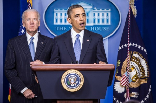 President Barack Obama makes a statement following passage by the House of Representatives for tax legislation on Tuesday, January 1, 2013, in Washington, D.C. Vice President Joe Biden joined the president on stage.
