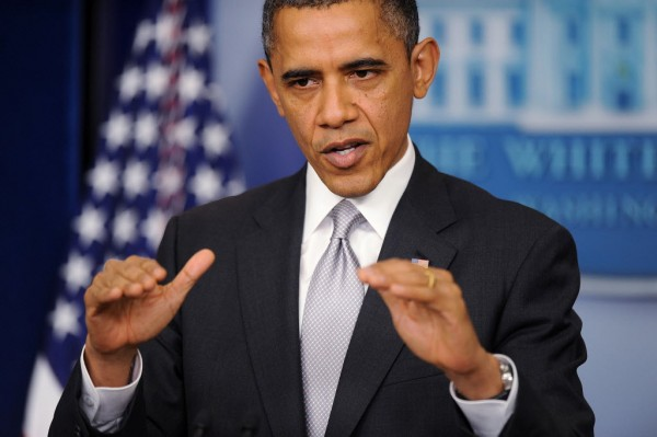 President Barack Obama gestures as he delivers a statement in the Brady Press Briefing Room about the policy process the Administration will pursue in the wake of the Newtown tragedy, Wednesday, December 19, 2012, at the White House in Washington, D.C.