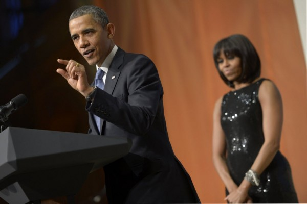 President Barack Obama speaks during an inaugural reception at the National Building Museum on Sunday, January 20, 2013, in Washington, D.C.