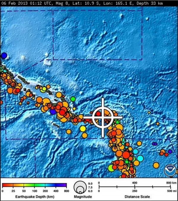 A bulletin released by the Pacific Tsunami Warning Center/NOAA/NWS issued on Feb. 6, 2013, shows the area affected by the tsunami warning following a major earthquake measuring 8.0 magnitude off the Solomon Islands. A small tsunami hit the Solomon Islands on Wednesday after a major undersea earthquake sparked a tsunami warning for several South Pacific island nations and placed many more nations including Australia and Indonesia on alert.
