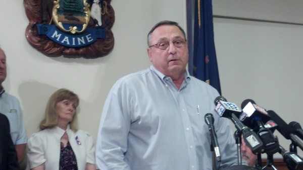 Gov. Paul LePage speaks at the State House in July 2012.