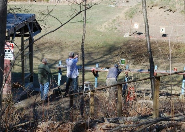 Club members take aim at targets in April at the Spurwink Rod & Gun Club on Sawyer Road in Cape Elizabeth.
