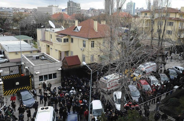 Riot police block a street after an explosion at the entrance of the U.S. embassy in Ankara.
