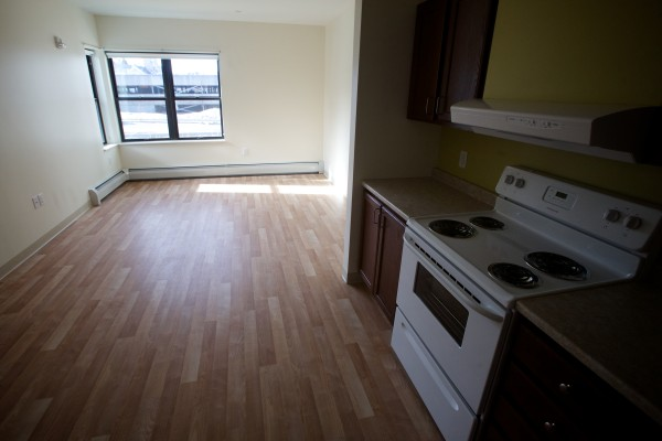 An apartment at Avesta Housing's 184 Pearl St. building in Portland's Bayside Neighborhood awaits a tenant.