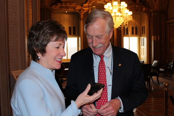 Sens. Susan Collins and Angus King in February 2013.
