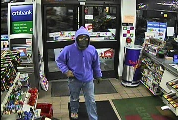 Police are seeking this suspect who held up a convenience store at gunpoint in the village of Springvale on Tuesday night, Feb. 5, 2013. The male suspect is described as 5 feet 8 inches tall, weighing 200 pounds, with green or gray eyes. He was wearing a purple hooded sweatshirt, jeans, hiking boots, green gloves and a ski mask. Anyone with information on his whereabouts should call the Sanford Police Department's Tip line at 324-9710, ext. 4.