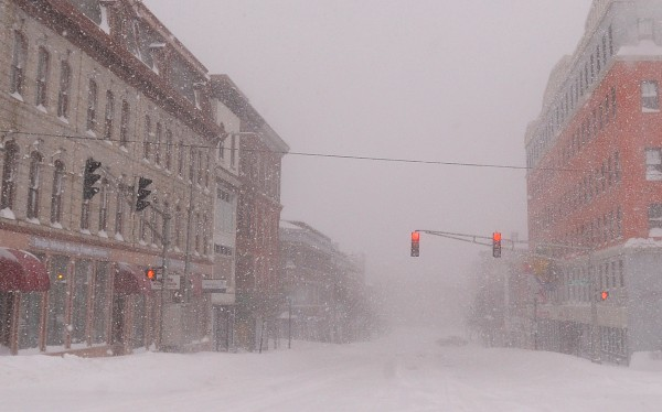 Downtown Bangor was nearly deserted after a storm caused blizzard conditions in Maine on Saturday morning.