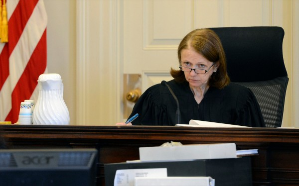Justice Nancy Mills presides over the Zumba case in York County Superior Court Tuesday, Feb. 19, 2013.