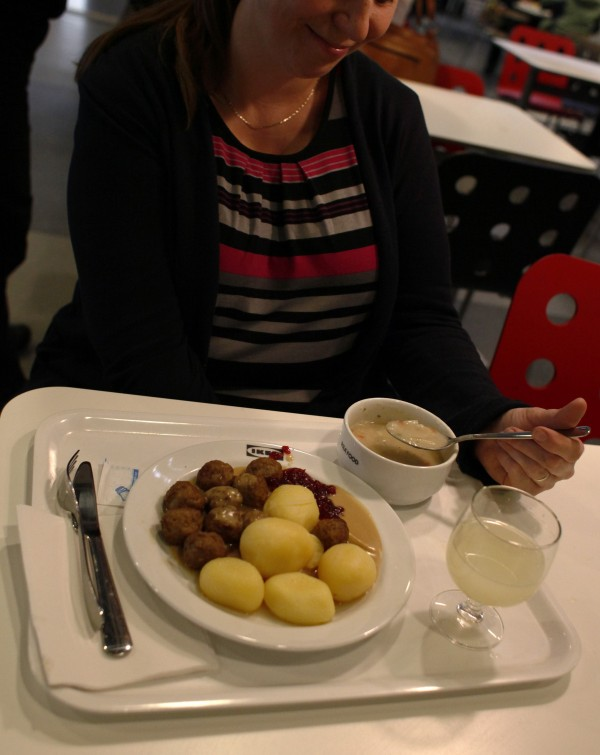 A customer gets ready to have lunch which includes the popular Swedish meatballs dish at a IKEA supermarket in Prague on Feb. 25, 2013. Swedish furniture giant IKEA said on Monday it has stopped selling meatballs from a specific batch which has tested positive for traces of horsemeat by Czech authorities.