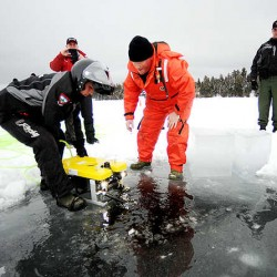 All-terrain vehicle finds terrain it can't cross, wardens make icy lake rescue