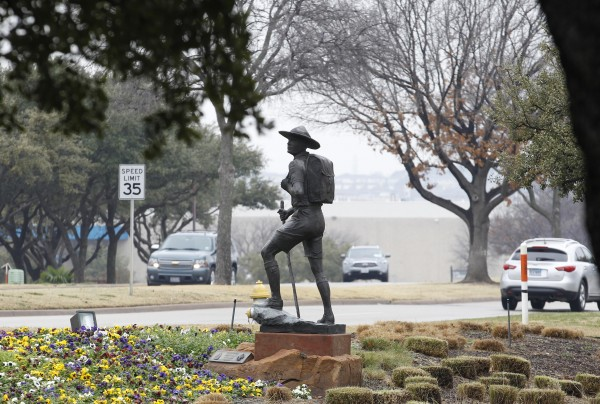 The statue of a scout stands in the entrance to Boy Scouts of America Museum and Family Center in Irving, Texas, on Tuesday, Feb. 5, 2013. Boy Scouts of America board members have decided to delay until May a vote to end the organization's gay membership ban.