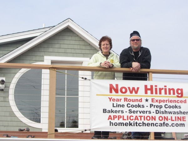 James Hatch and Susan Schiro stand on the new second-floor balcony of The Home Kitchen Cafe that will reopen by the end of the month after about five months of renovations.