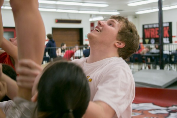 David McKusick, a member of the Dexter Regional High School cheering squad, was sidelined during last year's state championships because of a heart condition.