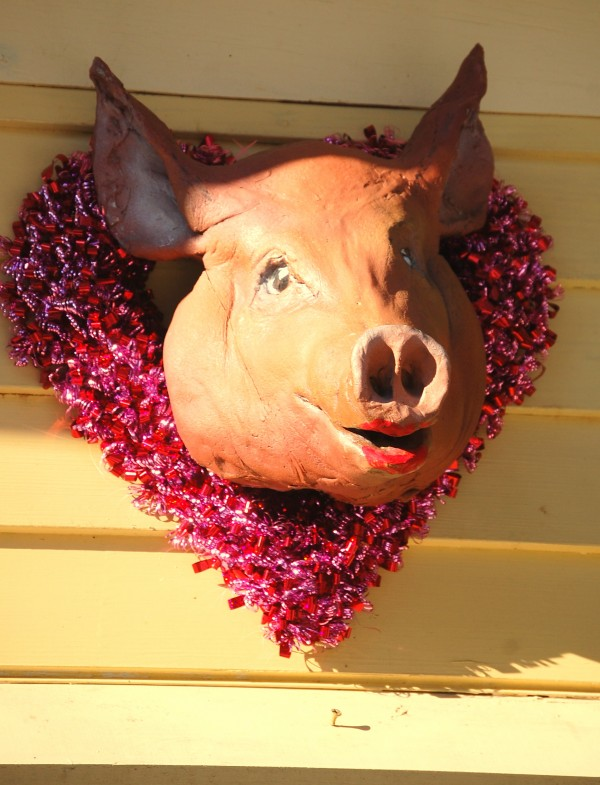 Rick and Beverly Henion's ceramic pig, &quotValenswine,&quot recently sported this red, heart-shaped bling ensemble for Valentine's Day in Gouldsboro.