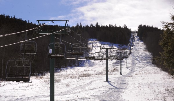 The chair lift at the Big Squaw Mountain Ski Resort in Greenville was ready to go Jan. 30, 2013. The mostly volunteer crews worked for months to reopen the ski slopes on the side of Big Moose Mountain, but warm weather has kept the resort from opening.