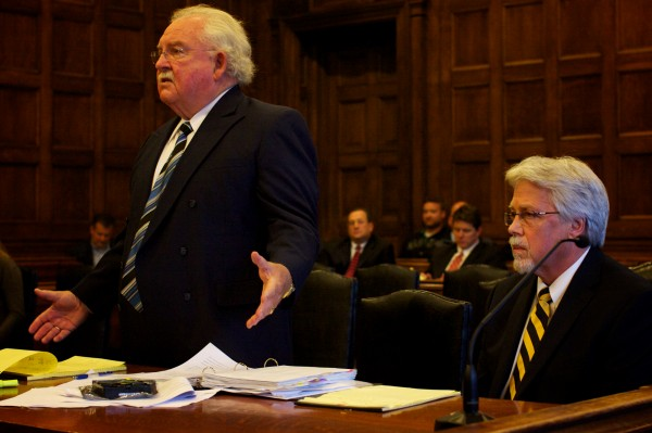 Daniel Lilley, attorney for Mark W. Strong Sr. (seated) complains about evidence provided to him by the prosecution on an internal hard drive in Cumberland County Superior Court in Portland in October 2012.
