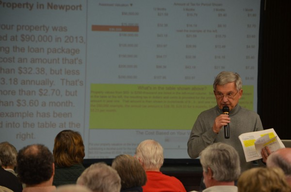 RSU 19 Business Manager Jerry Nault explains the potential mill rate impact of a $2.8 million stabilization loan for the district during a meeting at Nokomis Regional High School in Newport on Monday, Feb. 25, 2013. The loan will go before voters on March 8.