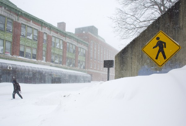 A winter storm hit Bangor early Saturday morning bringing several inches of snow, which continued to fall throughout the day.