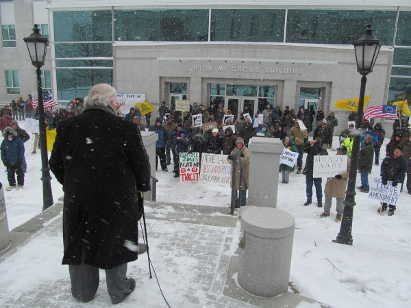 Approximately 150 people turned out Friday, Feb. 8, 2013 for a rally in support of gun rights at the State House in Augusta.