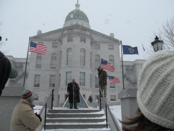 Former candidate for Congress John Frary addresses a gun control rally Friday, Feb. 8, 2013, at the State House in Augusta.