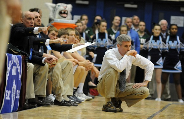 Presque Isle's head coach Terry Cummings during a close-scoring second half of the boys Class B quarterfinal game against Waterville at the Bangor Auditorium Saturday morning.