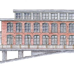 This architect's rendering depicts how an adaptive reuse of the long-abandoned 1908 sardine can manufacturing building in downtown Eastport might dress up its appearance when seen from the Water Street commons.