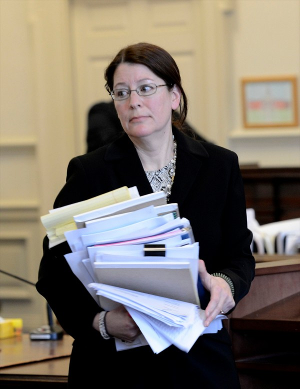 York County Deputy District Attorney Justina McGettigan in York County Superior Court after a hearing Tuesday, Feb. 19, 2013.