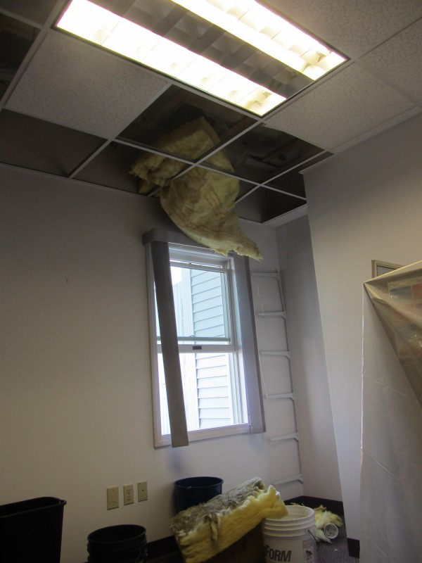 Damage to Rockland City Hall included to the ceiling in the assistant code enforcement officer's office.