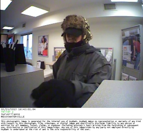 Surveillance footage of man suspected of robbing KeyBank in Waterville on Thursday.