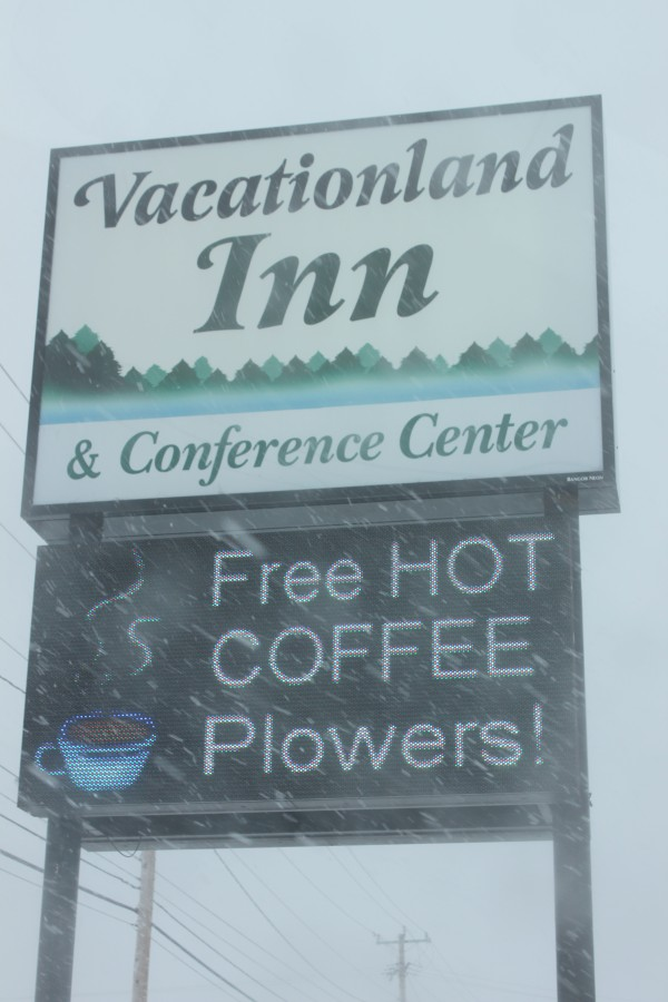 Vacationland Inn in Brewer is offersing &quotwarmth by the fire and free hot coffee for storm travelers and storm plowers,&quot said the inn's manager, Leeanne M. Hewey, in an email.