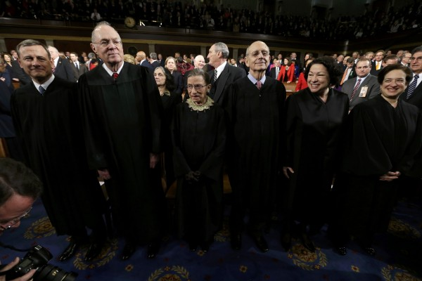 U.S. Supreme Court Justices Chief Justice (from left) John Roberts, Anthony Kennedy, Ruth Bader Ginsburg, Stephen Breyer, Sonia Sotomayor and Elena Kagan await the start of President Barack Obama's State of the Union speech on Capitol Hill in Washington, Feb. 12, 2013.