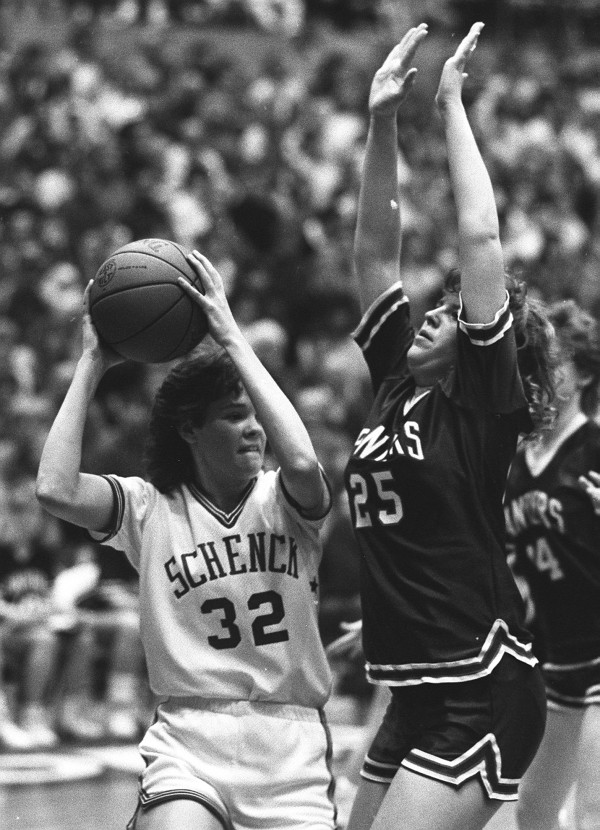 Central Aroostook's Heather Clark (right) tries to defend against Schenck's Stephanie Carter during the Eastern Maine Class C final at the Bangor Auditorium on Feb. 20, 1988. Carter scored what was then an EM tourney-record 46 points to lead Schenck to a 70-64 win.
