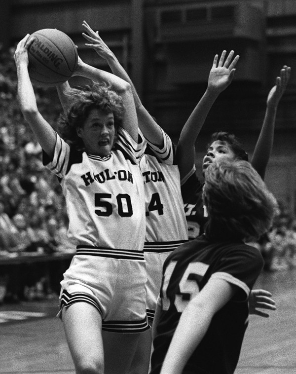 Houlton's Heidi Britton grabs a rebound against Mount View during the Eastern Maine Class B final on Feb. 21, 1986 at the Bangor Auditorium. Houlton went on to win the game 46-38 after it was delayed for 75 minutes because of leak in the auditorium roof.