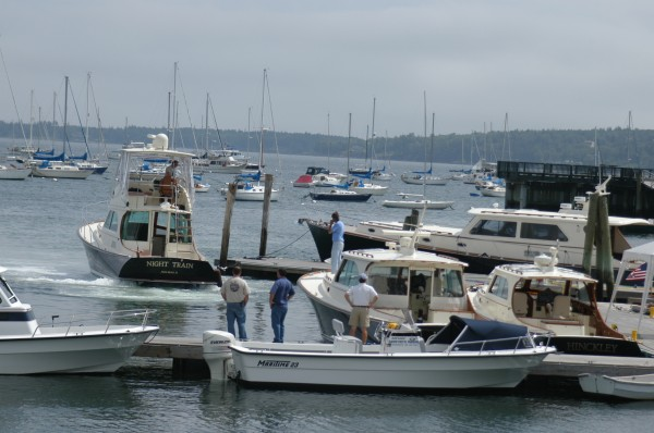 Boats start lining up at the docks in Rockland Harbor in preparation for the Maine Boats & Harbors Show in August 2004. A proposed redesign of the town's Harbor Park could cost as much as $2.5 million.