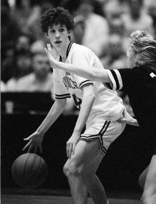 Lawrence's Cindy Blodgett looks to drive past Portland's Staci Huggard during the Class A state final at the Bangor Auditorium on March 16, 1991. Blodgett scored 25 points to help Lawrence win 77-67.