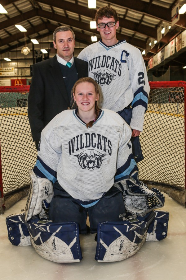 The Presque Isle High School hockey team features sister-brother combo of Jillian and Adam Flynn, who are coached by their father, Carl.