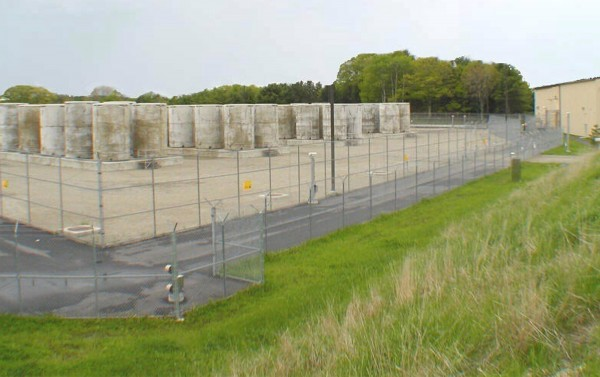 Some of the cylindrical, steel-lined concrete containers that comprise the 550 metric tons of spent nuclear waste being stored at Maine Yankee in Wiscasset.