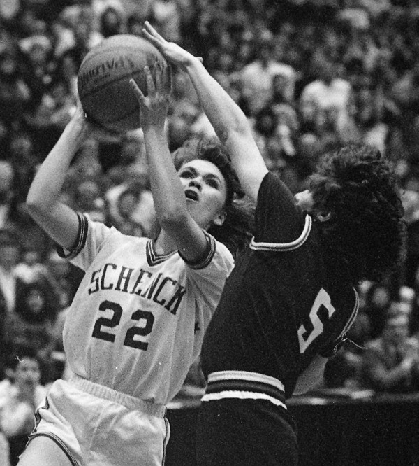 Schenck's Laurie Spearrin shoots past Winthrop's Nussy Rheaume during the Class C state final at the Bangor Auditorium on March 3, 1989. Schenck beat Winthrop 68-51 to claim its third straight state crown.